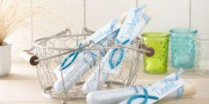 Ideen mit Badesalz: Ein Dankeschön nach der Kommunion oder Konfirmation in Türkis, Petrol und Wasserblau