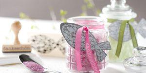 Ideen mit Badesalz: Dankeschön nach der Kommunion oder Konfirmation in Pink, Olivgrün und Granit